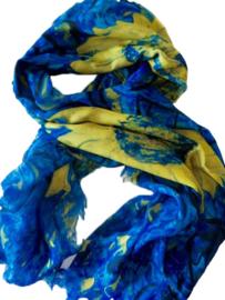 Van Gogh sjaal print zonnebloemen, katoen poly mix, 95 x 180 cm