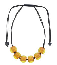 ZSISKA necklace yellow ochre 6 beads BALLS.