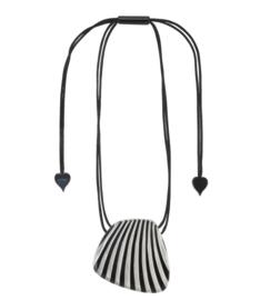 ZSISKA necklace silver black striped pendant. MIRAGE