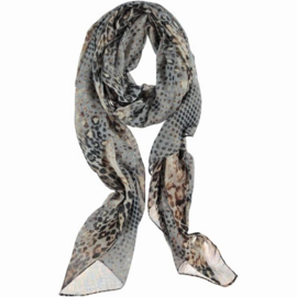 ROMANO animal print scarf grey black brown with polka dot, 90 x 180cm