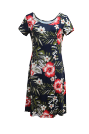 LEEZZA  summer dress  jersey cap sleeve HIBISCUS