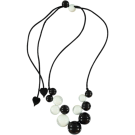ZSISKA necklace black white 14 beads BOLAS