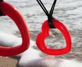 ZSISKA ketting rood hart, verstelbaar. JOYFUL