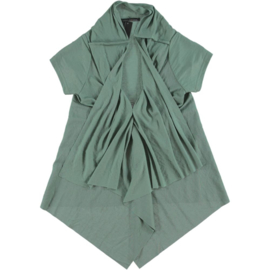 ELSEWHERE top green cap sleeves v-neck LINO 3025