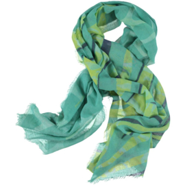D&A scarf in  green smoke blue print, 100x190cm