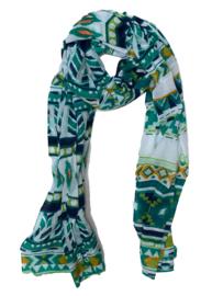 LEEZZA sjaal groen marine azteken print - 315 PUNTEN