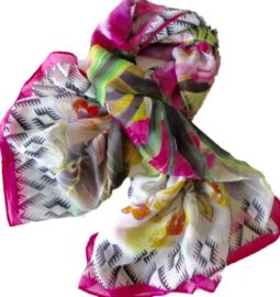 A-zone sjaal roze wit  bloem, 105x105 cm