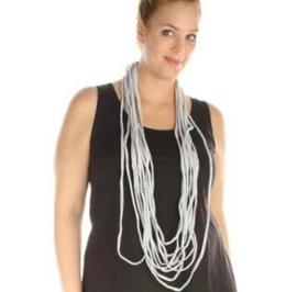 BORIS t-shirt sjaal -ketting offwhite/zwart streepje