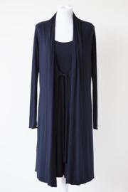 LEEZZA lang vest marineblauw met striksluiting, viscose jersey  Style KIM