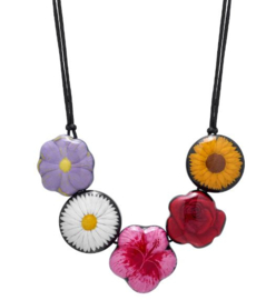 ZSISKA ketting multi color 5 bloemen, FRIDA Kahlo.