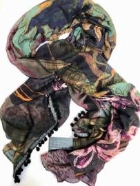 Romano sjaal patchwork print met rose groen, mousseline 80x180cm