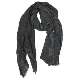 Stola sjaal antraciet grijs mouseline  met mini lovertjes