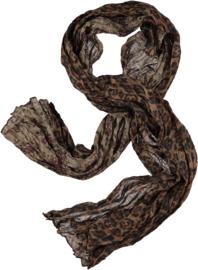 Tijgersjaal double face- panter- & bloem print 60 x180cm