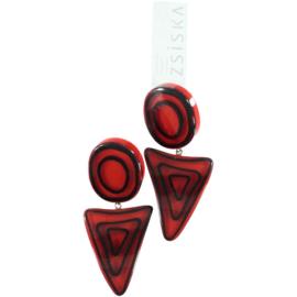 ZSISKA oorbellen rood donker zwart. ELEMENTS.