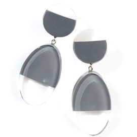 ZSISKA earrings grey transparant CUT OUT