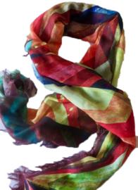 Multi color sjaal, geometrische print, viscose, 80 x 180 cm