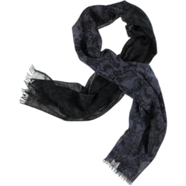 AMOR winter scarf all kinds of blue lace print 100% merino wool  80 x 180cm
