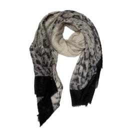 Sjaal panterprint beige zwarte rand goud lurex
