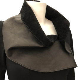 ELSEWHERE scarf / collar black genuine leather STYLE 3365