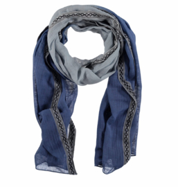 A-Zone bleu ombre scarf with tape, 50 x 180cm, 100% Cotton
