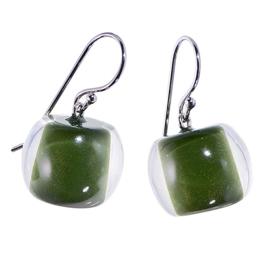 ZSISKA oorbellen groen olijf  COLOURFUL BEADS