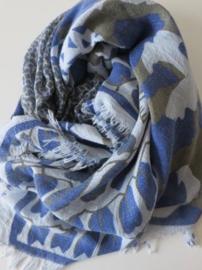 DAVID & Alex sjaal blauw grijze abstracte print , viscose 140 x 140cm