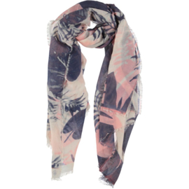 D&A scarf in pink smoke blue abstract, 100 x 190cm