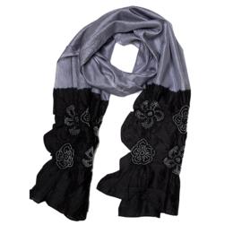 DAMASK sjaal grijs zwart bandhani zijde