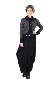ELSEWHERE pants dhoti style honeycomb jersey black STYLE 3340