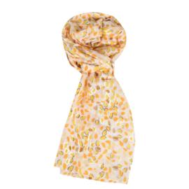 LEEZZA  sjaal geel kleine blaadjes