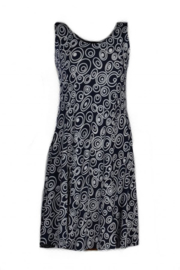 DEBBIE MORGAN dark navy white  jersey summer dress with circkle print  Style IBIZA