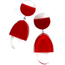 ZSISKA earrings red bordeaux transparant CUT OUT