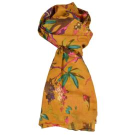 LEEZZA  sjaal geel bloemen en vogels