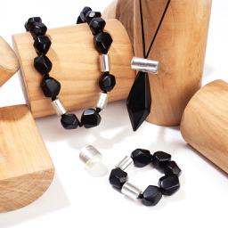 ZSISKA ketting zwart & zilver abstract DOLOMITES.
