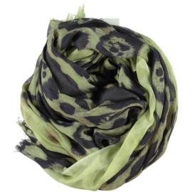 ROMANO tijgerprint sjaal lime groen antraciet, viscose 110x200cm