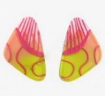 ZSISKA oorbel roze lime driehoek steker FLORA