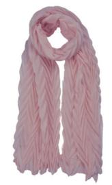 Scarf old pink plissé, 70 x 180