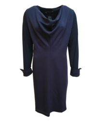 ELSEWHERE jurk,  night blue jersey omslag manchet. STYLE 3120