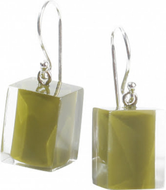 ZSISKA earrings green olive light   CUBES