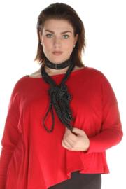 BORIS jersey sjaal ketting zwart met witte polkadot