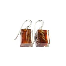 ZSISKA earrings brown marbled CUBES