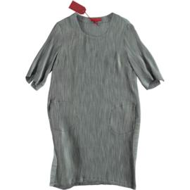 VETONO jurkje zilvergrijs zwart streepje 3/4 mouw