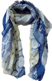 Sjaal sixties print kobalt blauw kiwi
