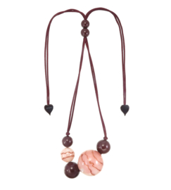 ZSISKA necklace pink dusty - brown, 7 beads. CELESTE