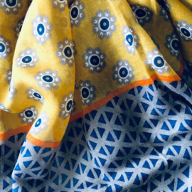Scarf yellow navy print on 100% cotton - 80 x180 cm