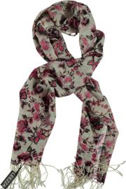Pashmina sjaal grijs met roze bloemen, 100% virgin wool,70 x180 cm