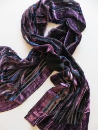 ROMANO scarf burned out purple eggplant, silk/viscose, 33x160cm