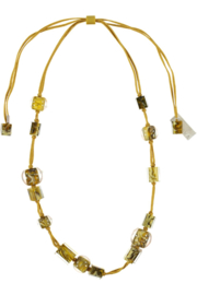 ZSISKA necklace yellow ochre, long. Cubes & Balls