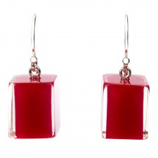 ZSISKA earrings red dark - beaujolais CUBES