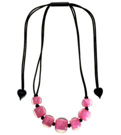 ZSISKA ketting roze 7 ongelijke kralen, BALL'S.